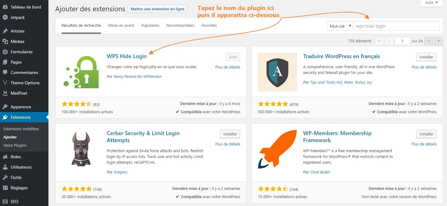 2 chercher comment installer un plugin WordPress