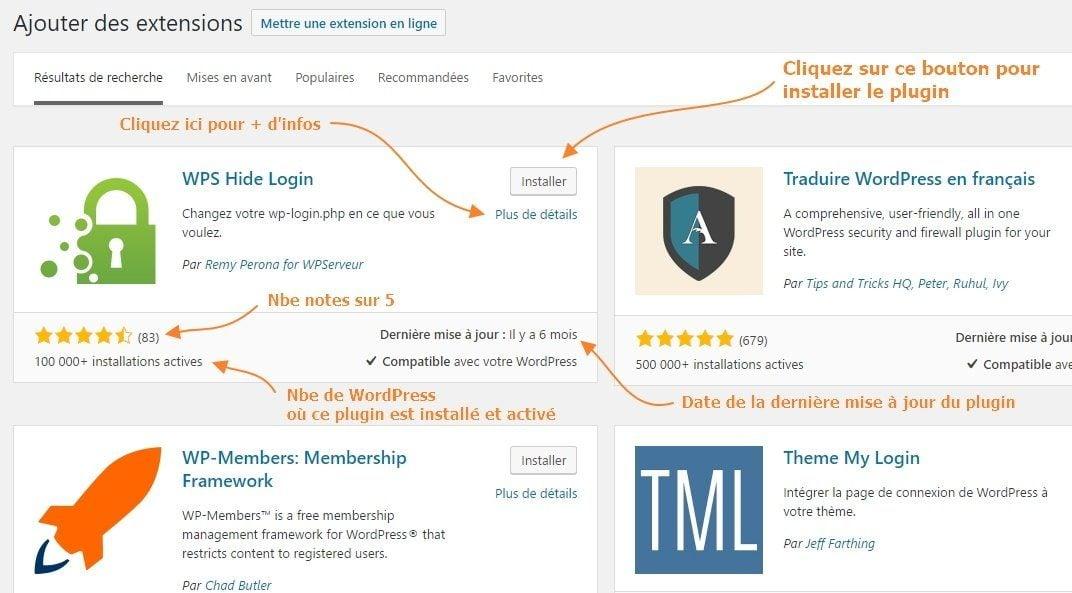 Ajouter des extensions - installer plugin WordPress