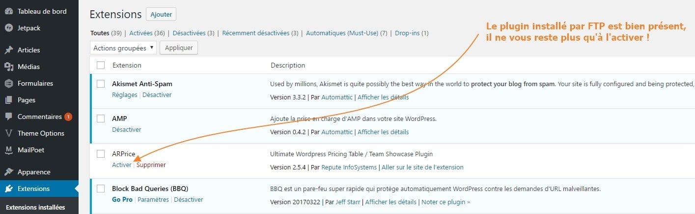 activer plugin wordpress FTP comment installer un plugin WordPress