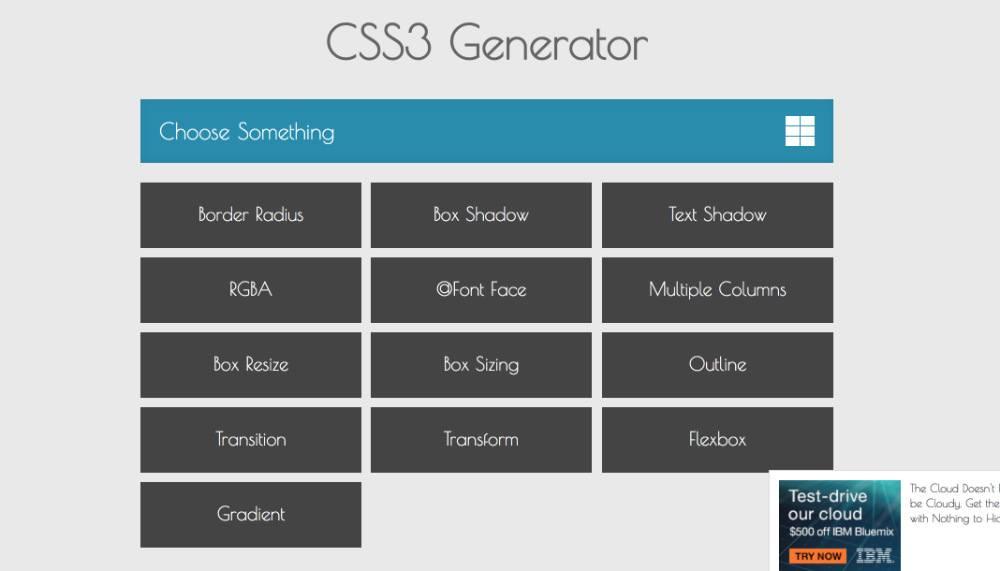 outils en ligne : CSS Generator