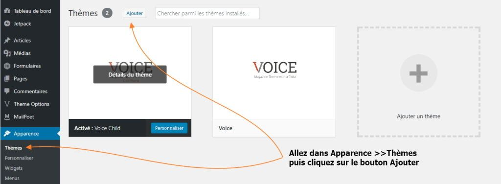 installer theme wordpress Voice