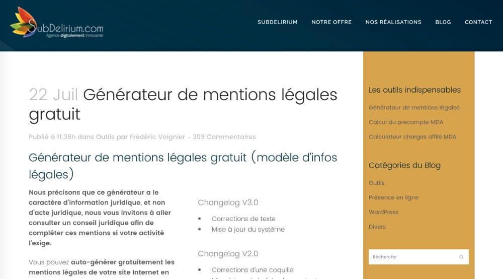 Outils en ligne : mentions légales
