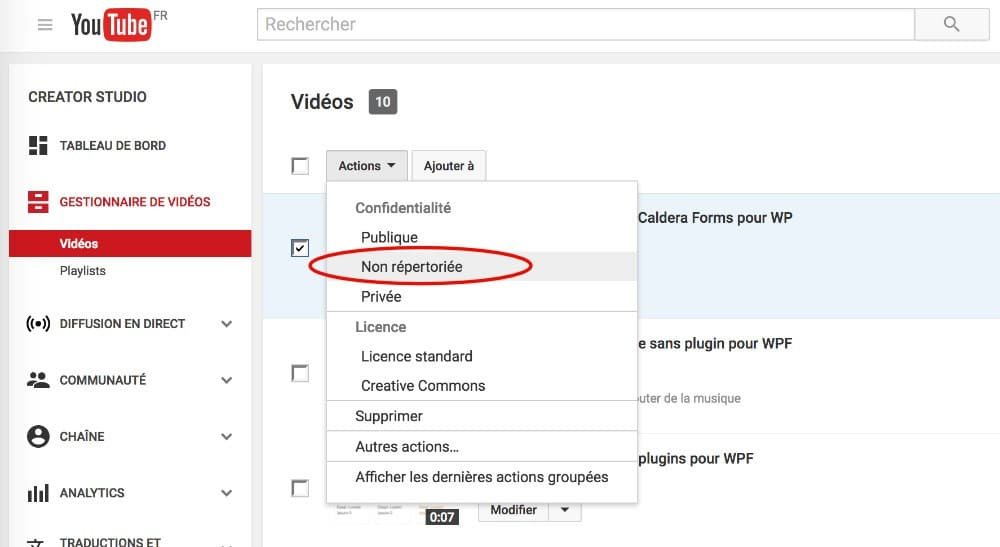 Video YouTube non repertoriée pour support WordPress
