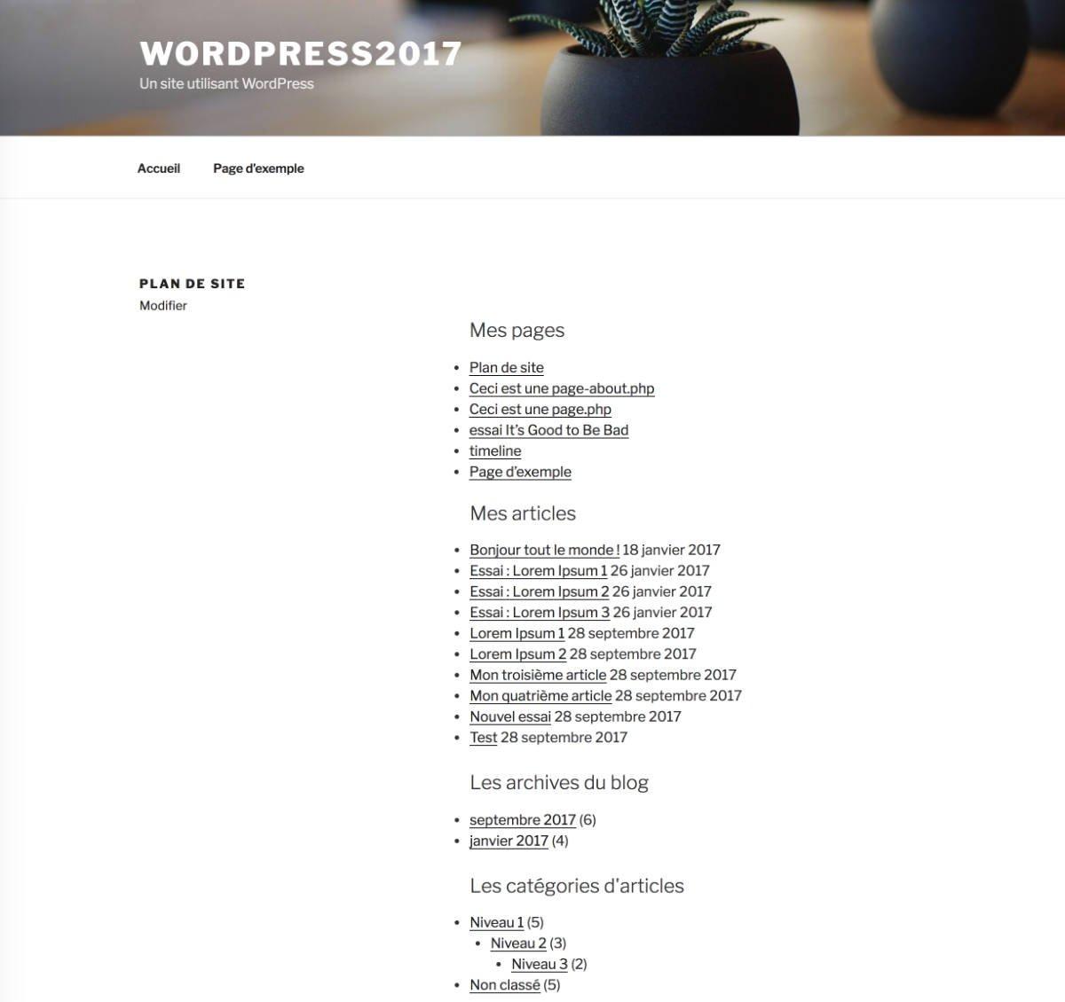 Affichage en front end du plan de site