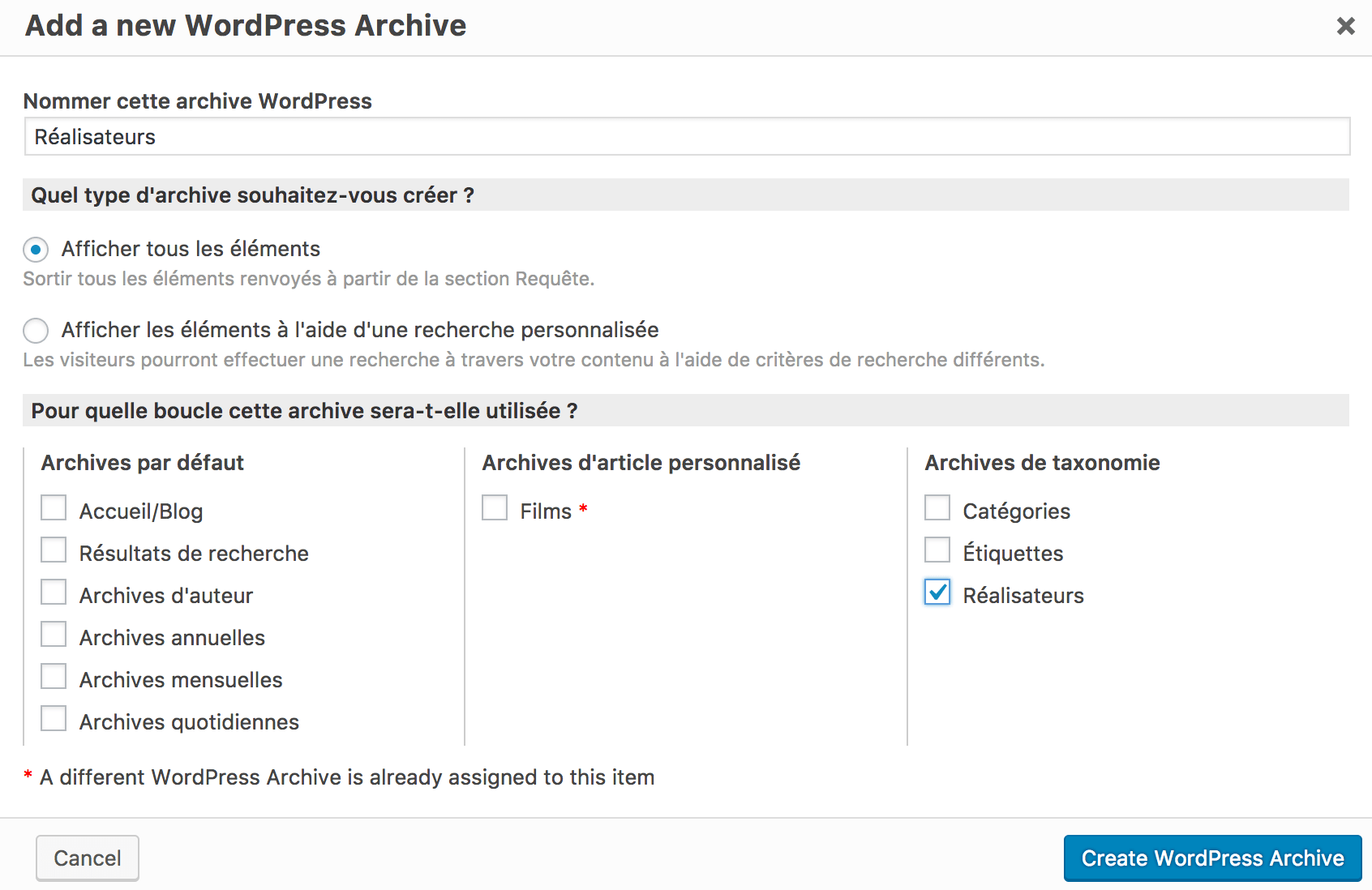 Toolset Archive Taxonomie