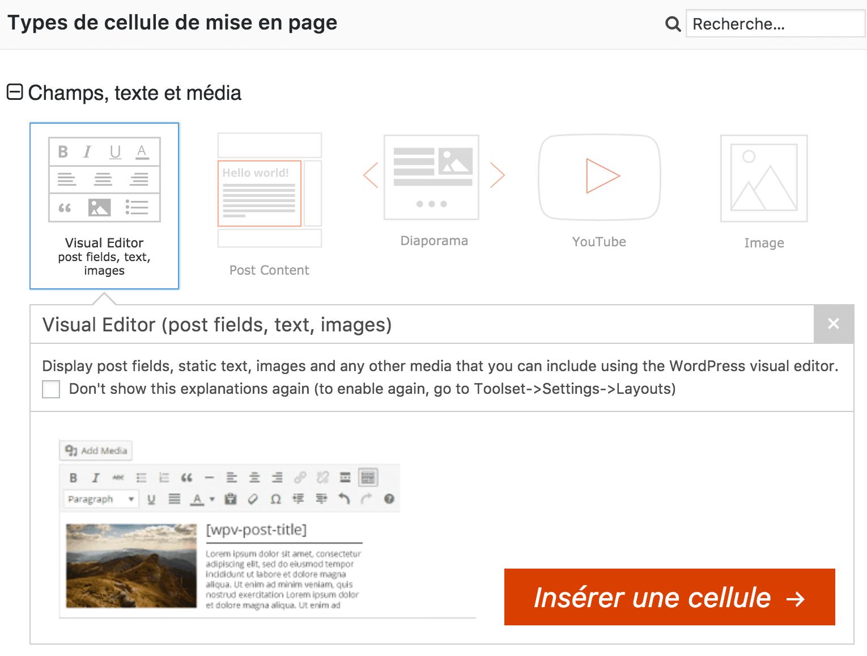 Toolset Visual editor