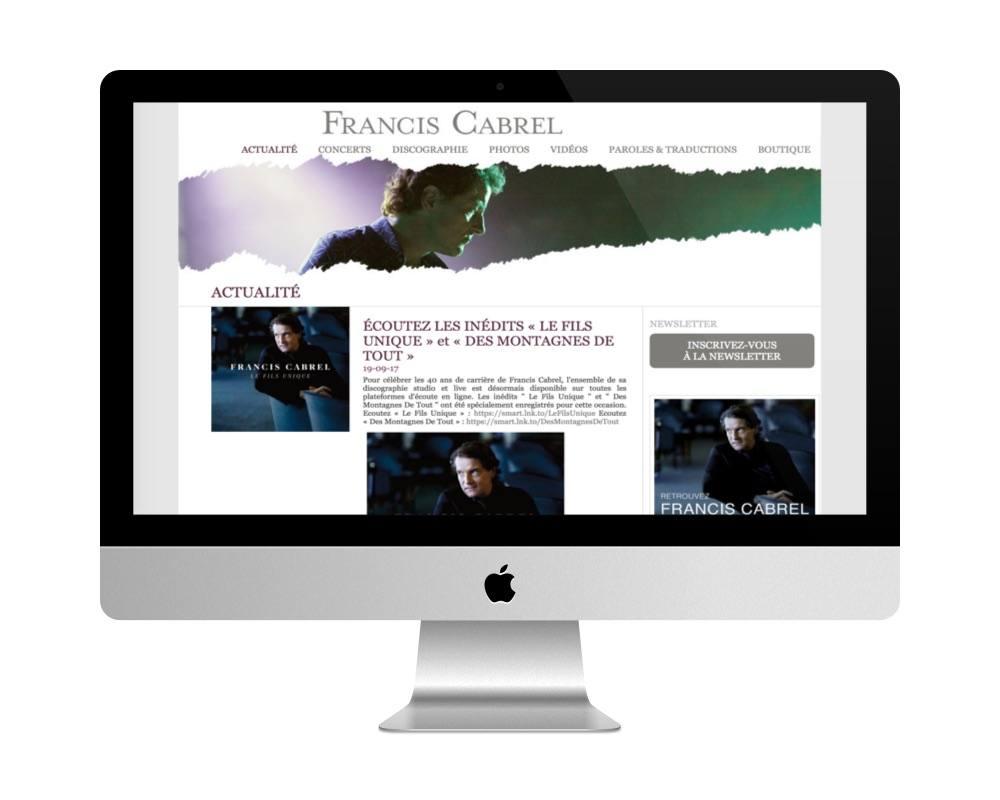 Le site de Francis Cabrel, fait avec WordPress