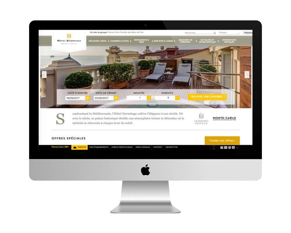 Le site de l'Hôtel Hermitage - à Monaco - fait avec WordPress