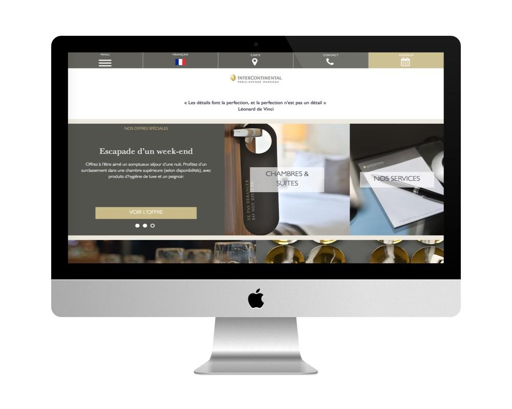 Le site de l'Intercontinental fait avec WordPress