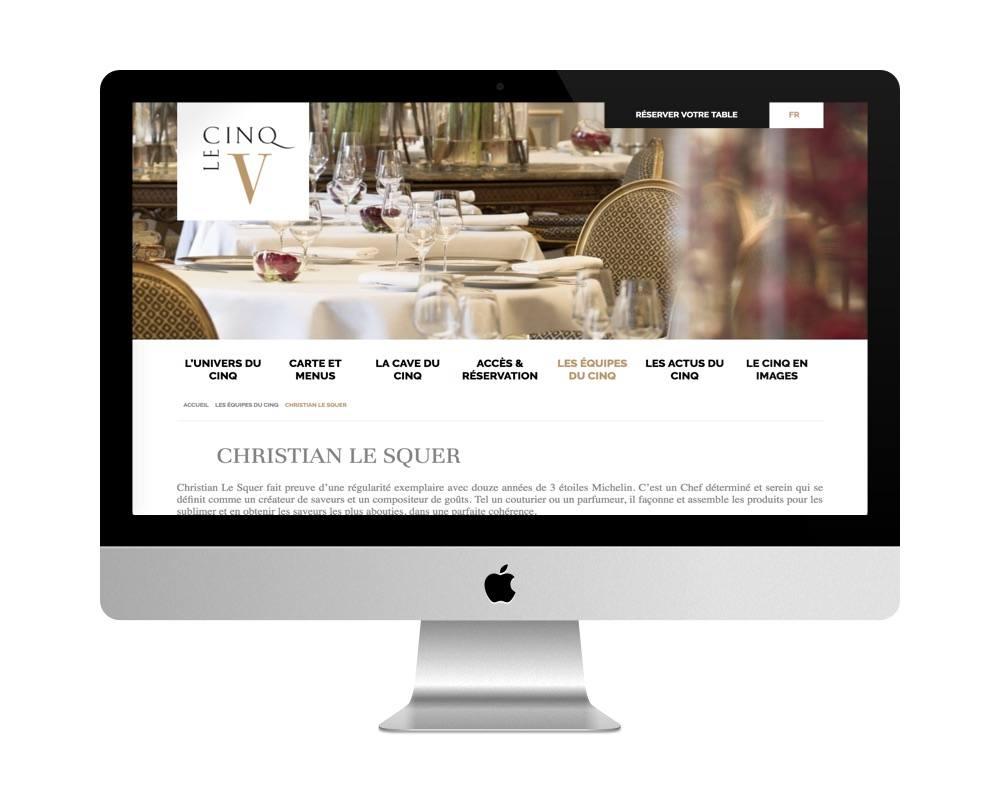 Restaurant Le Cinq - à Paris - fait avec WordPress