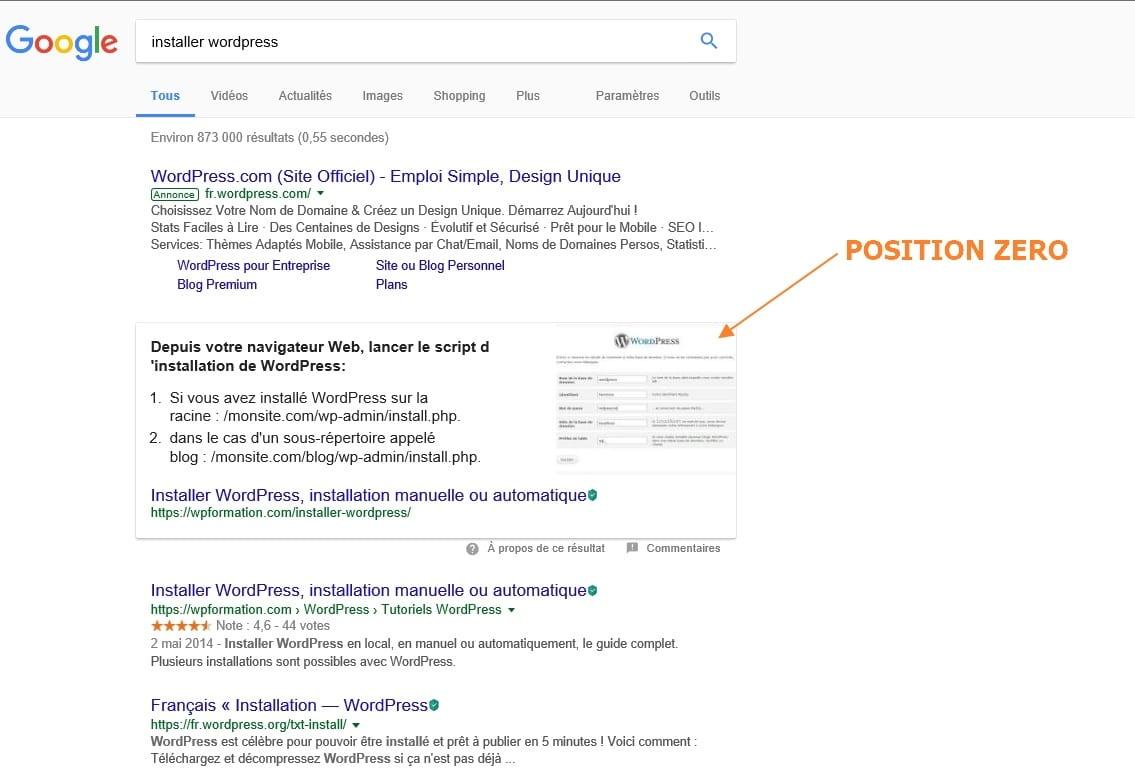 position zero wordpress