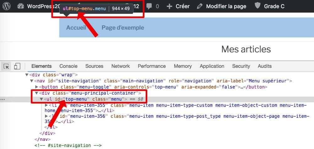 Trouver l'identifiant d'un menu WordPress