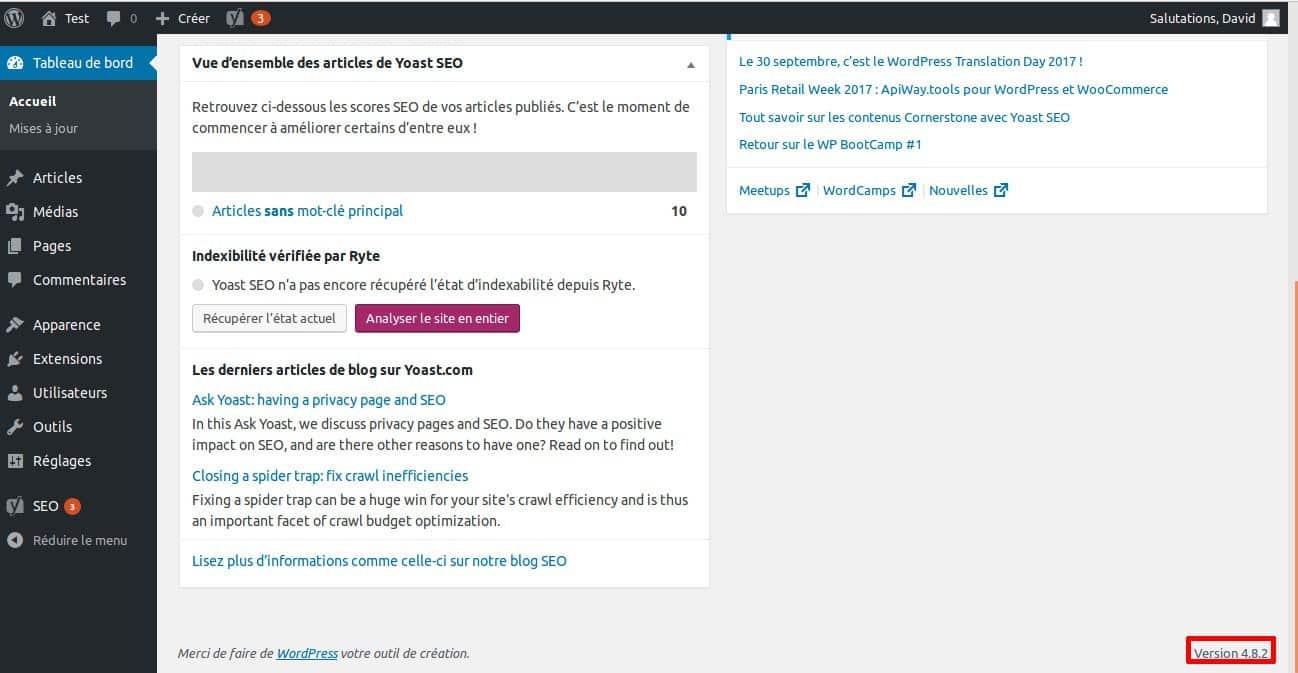 La grande FAQ WordPress - Image 2 Numero de version WordPress