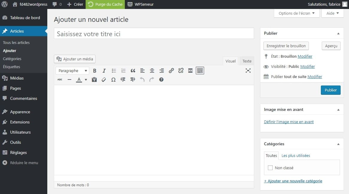 ajouter un article WordPress