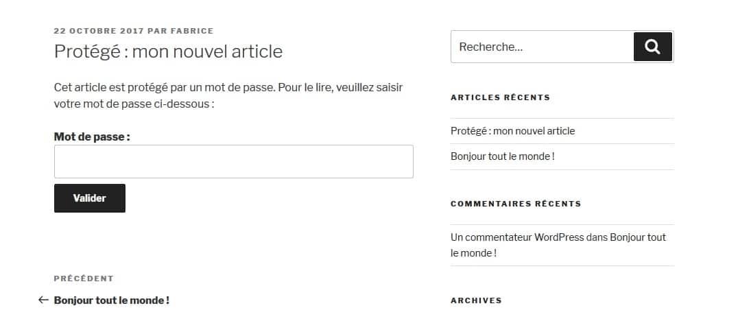 article WordPress protege par mot de passe