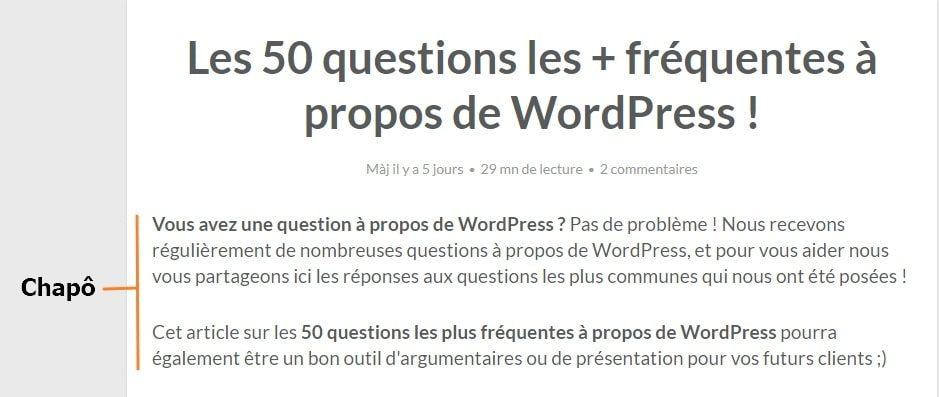 chapo article WordPress