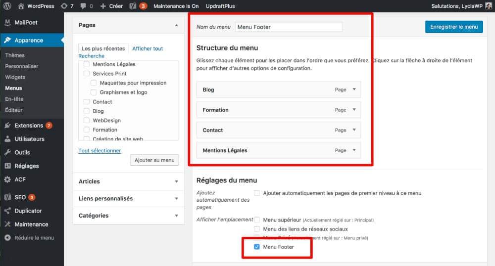 Créer et assigner un nouveau menu dans le backoffice de WordPress
