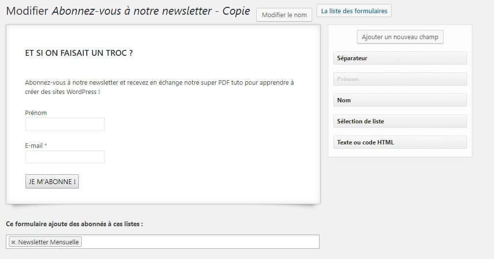 formulaire mailpoet