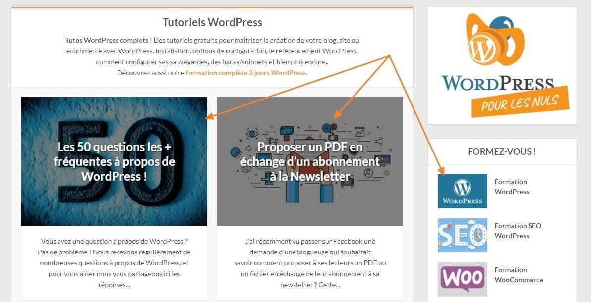 images mises a la une WordPress