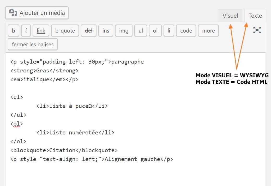 mode visuel ou texte article WordPress
