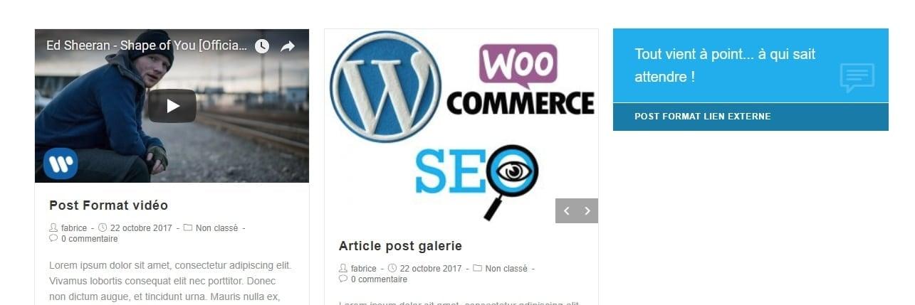 post format exemples WordPress