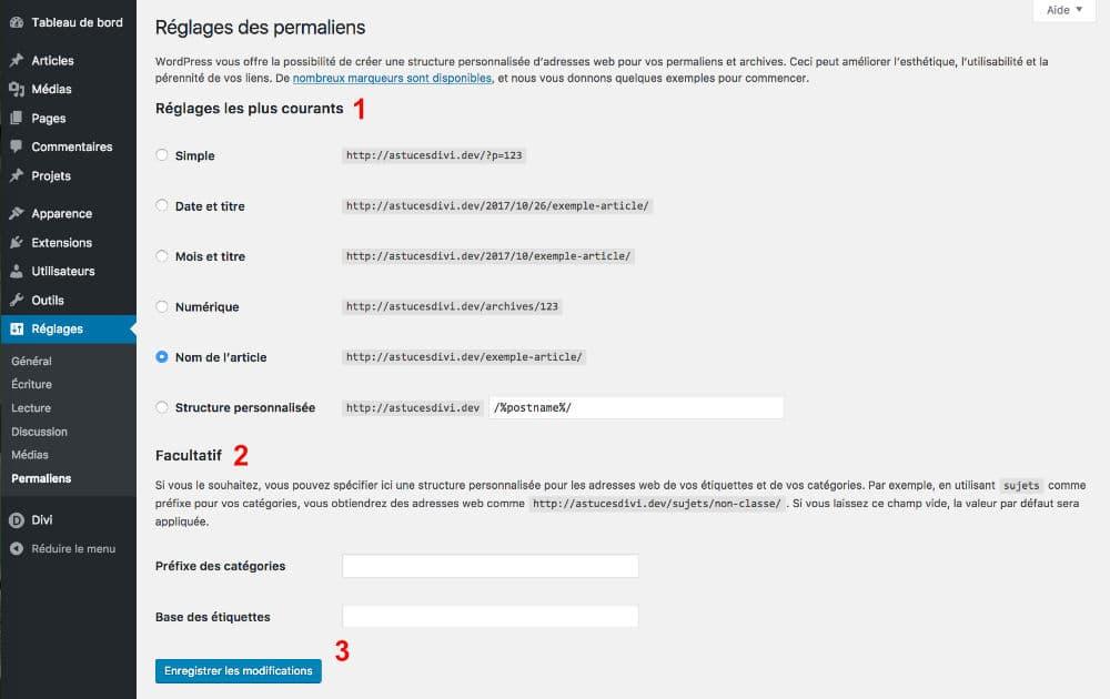 Les réglages de WordPress : onglet Permaliens