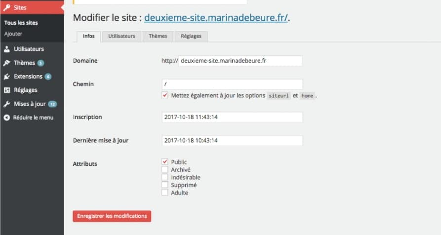 sites reseaux multisites wordpress
