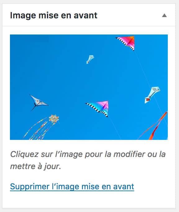 """Encart """"image à la une"""" d'une Page WordPress"""