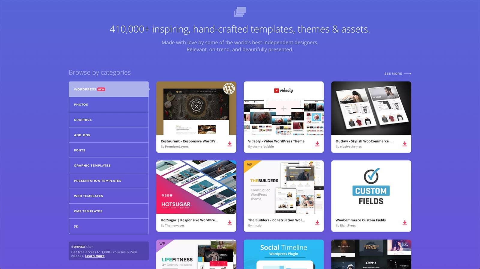 La page de contenus WordPress de Envato Elements