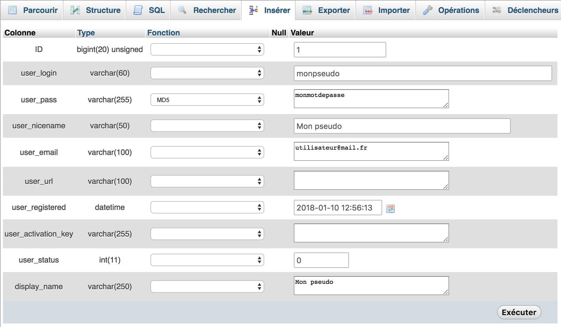 Bloqué sur WP - Créez un nouvel utilisateur avec les droits administrateur sur phpMyAdmin