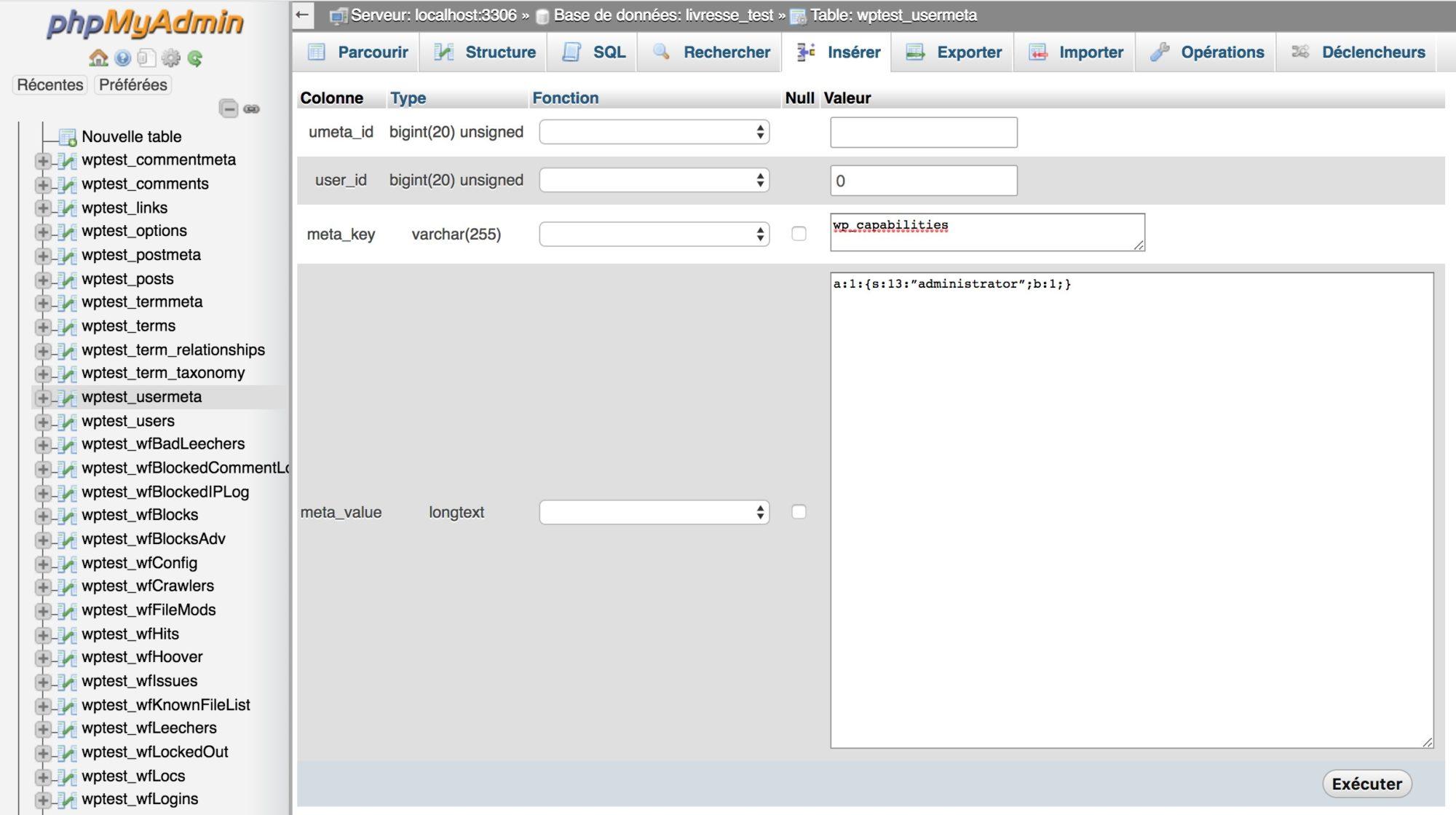 Bloqué sur WP - Créez les données Meta du nouvel utilisateur WordPress aux droits administrateur