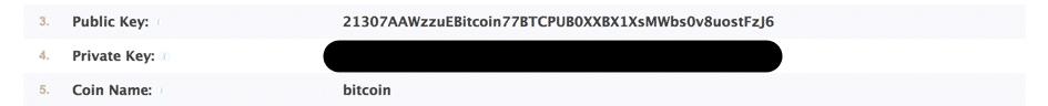 Bitcoin et WordPress - Saisie des cles