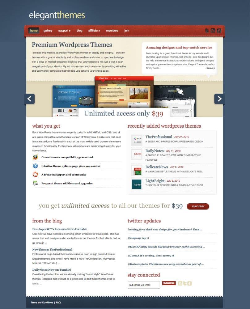 La version du site de ET à la fin 2010