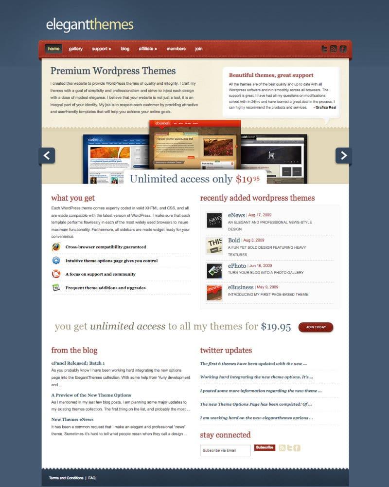 La version du site ET à la fin 2009