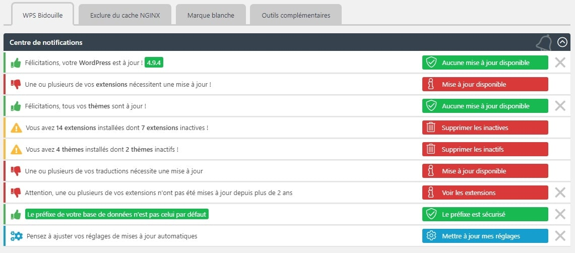 notifications centre WPS Bidouille
