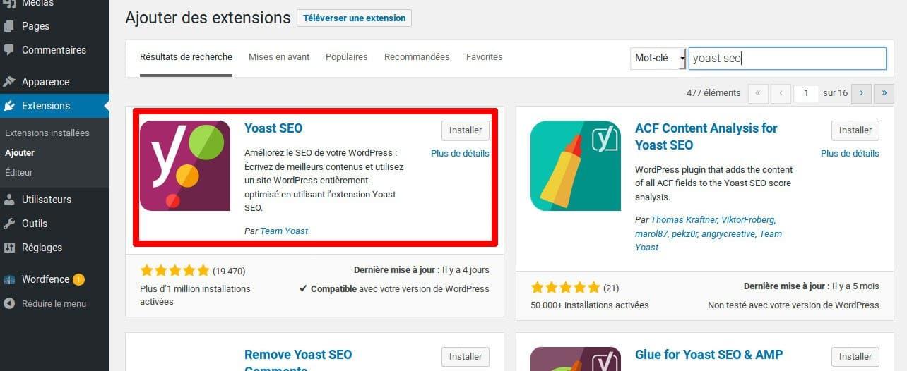 Comment ajouter des fils d'Ariane sur WordPress - L'extension Yoast SEO est le premier résultat de la recherche Yoast SEO