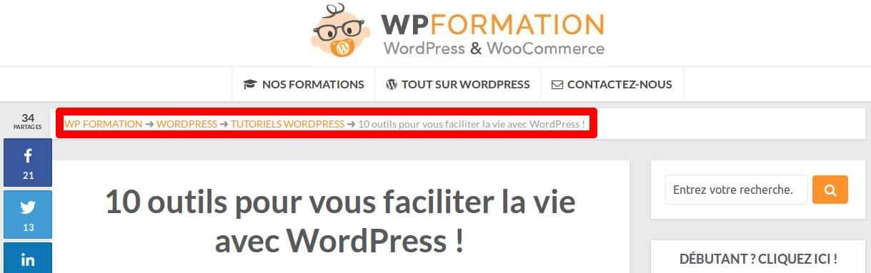 Comment ajouter un fil d'Ariane sur WordPress - Un exemple le fil d'Ariane de WPFormation