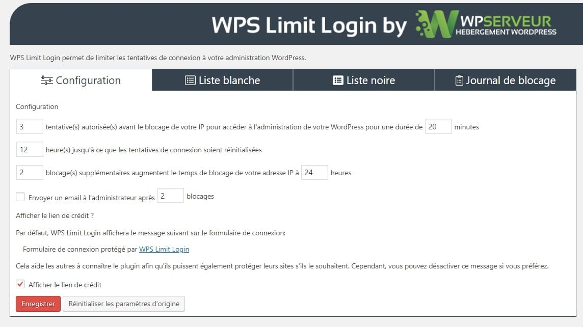 WPS Limit Login configuration