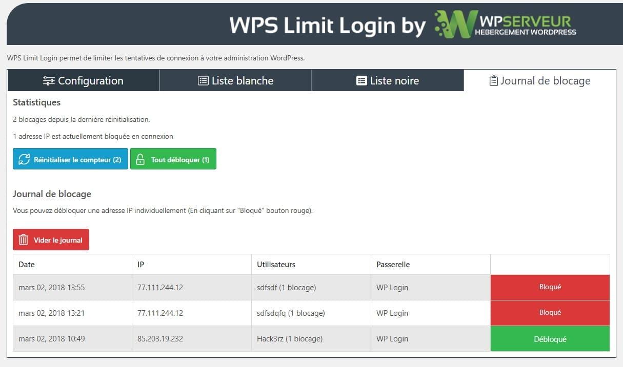 WPS Limit Login journal