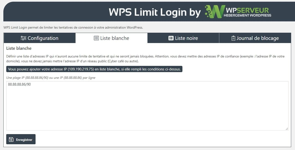 WPS Limit Login liste noire et blanche