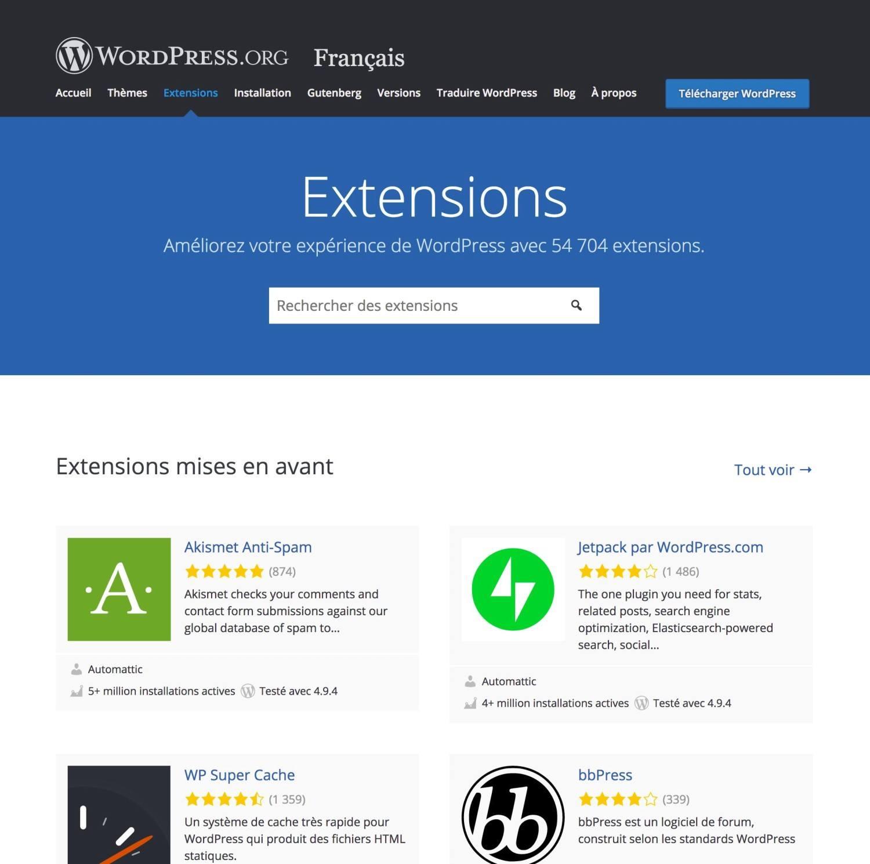 Wix vs WordPress - extensions WP