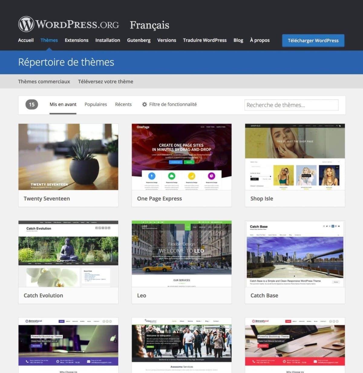 Wix vs WordPress - themes WP
