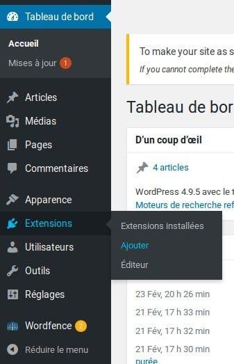 Migrer Joomla vers WordPress - Ajouter extension - 1