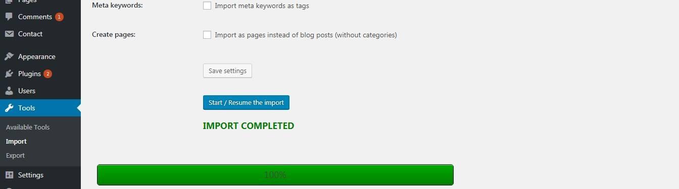 Migrer Joomla vers WordPress - Import termine