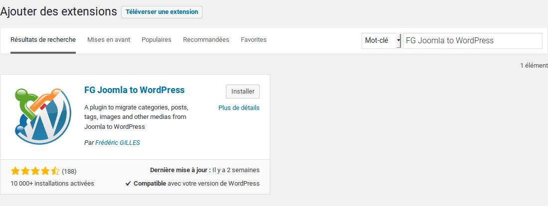 Migrer Joomla vers WordPress - Installer l extension FG