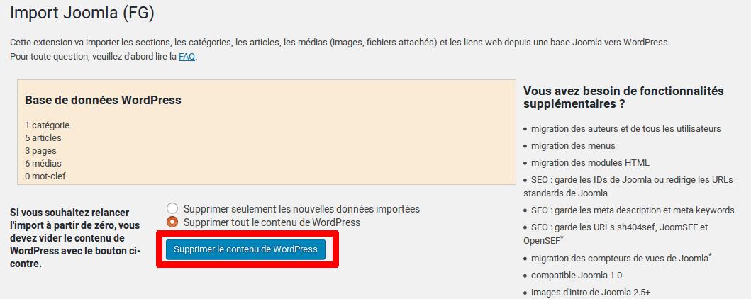 Migrer Joomla vers WordPress - Supprimer le contenu WP