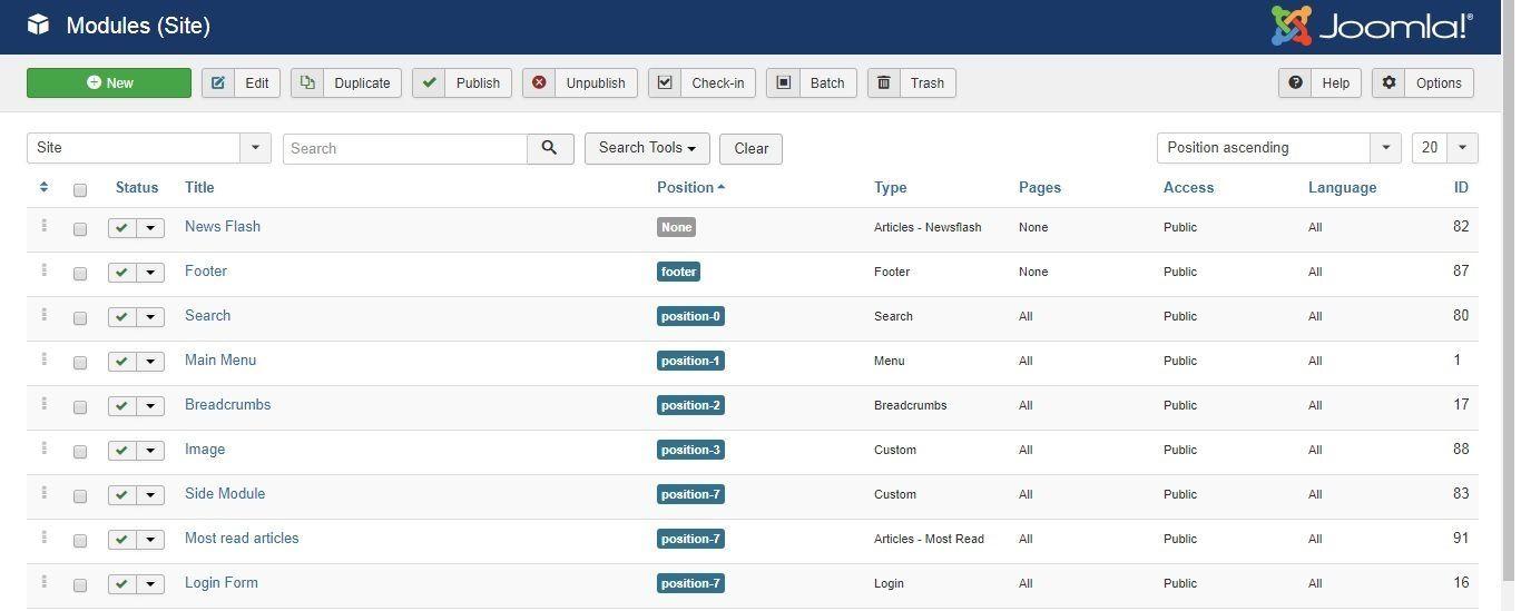 Migrer Joomla vers WordPress - Zone de module joomla
