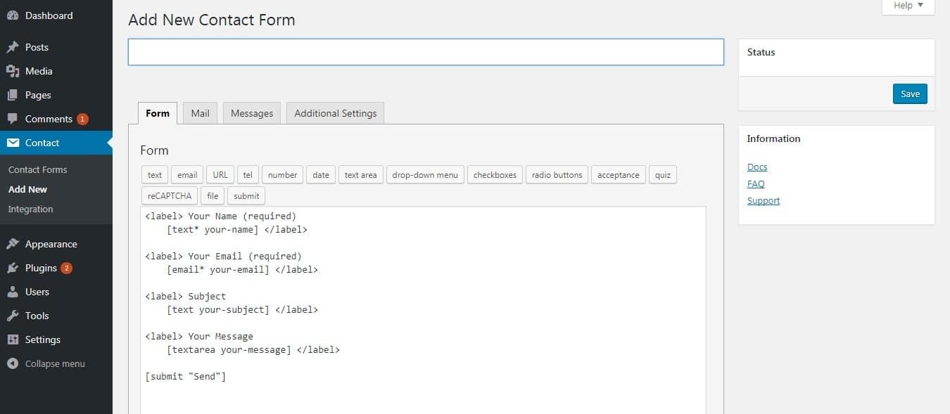 Migrer Joomla vers WordPress - formulaire de contact WP contact form 7