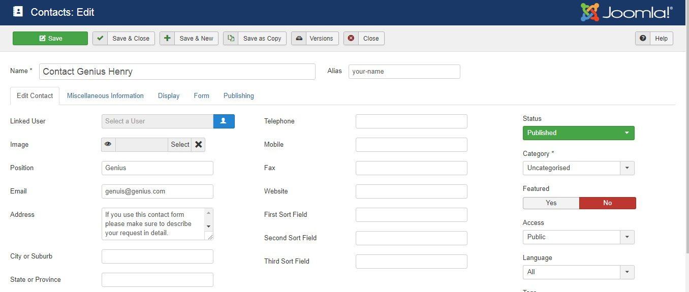Migrer Joomla vers WordPress - formulaire de contact joomla