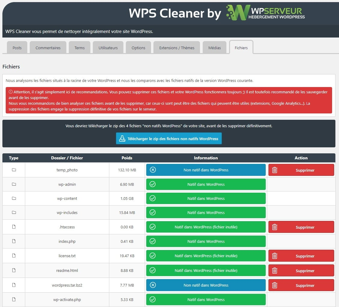 wps cleaner fichiers